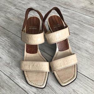 Stuart Weitzman Cream Leather Heel Sandals
